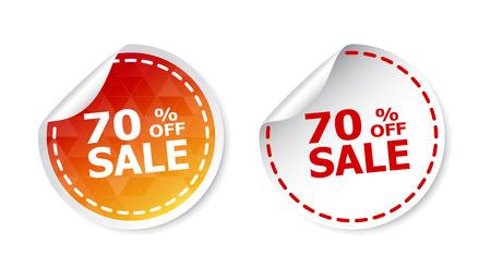 Verkoopstickers 70% procent korting. Vector illustratie op een witte achtergrond. Stock Illustratie