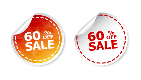 article marketing: Sale stickers 60% percent off. Vector illustration on white background. Illustration