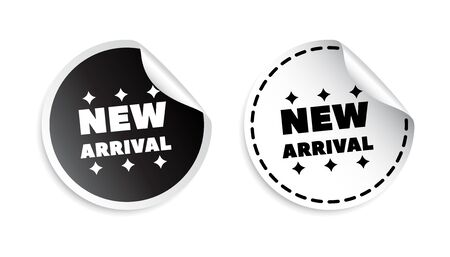 arrival: New arrival sticker. Black and white vector illustration.
