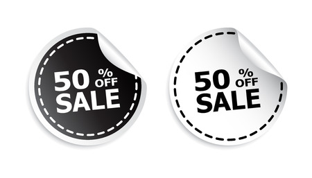 webshop: Sale sticker. Sale up to 50 percents. Black and white vector illustration.