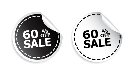webshop: Sale sticker. Sale up to 60 percents. Black and white vector illustration.