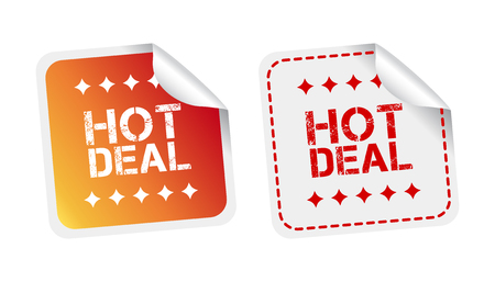discount banner: Hot deal stickers. Vector illustration on white background.