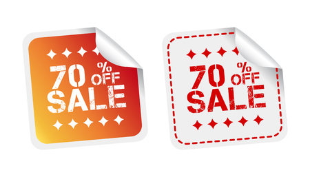 webshop: Sale stickers 70% percent off. Vector illustration on white background. Illustration