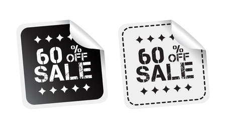 discount banner: Sale sticker. Sale up to 60 percents. Black and white vector illustration.