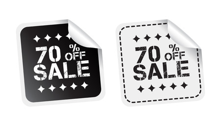 discount banner: Sale sticker. Sale up to 70 percents. Black and white vector illustration.