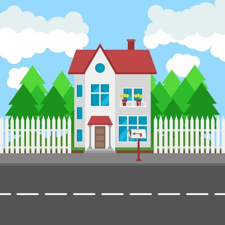 House along the road. Part of the rural and urban landscape. Vector illustration in flat style. Illustration