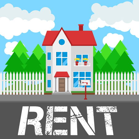 house for rent: House for rent along the road. Part of the rural and urban landscape. Vector illustration in flat style. Illustration