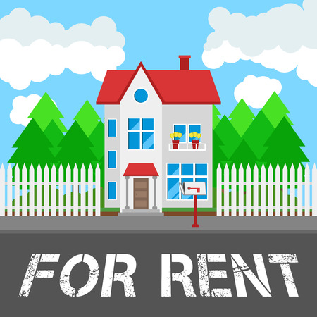 House for rent along the road. Part of the rural and urban landscape. Vector illustration in flat style.  イラスト・ベクター素材