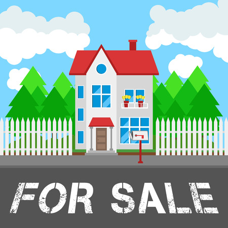 rural road: House for sale along the road. Part of the rural and urban landscape. Vector illustration in flat style.