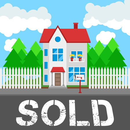 rural road: House sold along the road. Part of the rural and urban landscape. Vector illustration in flat style. Illustration