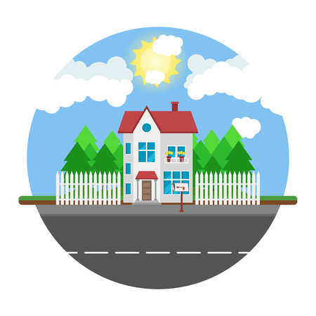 rural road: House on round background along the road. Part of the rural and urban landscape. Vector illustration in flat style.