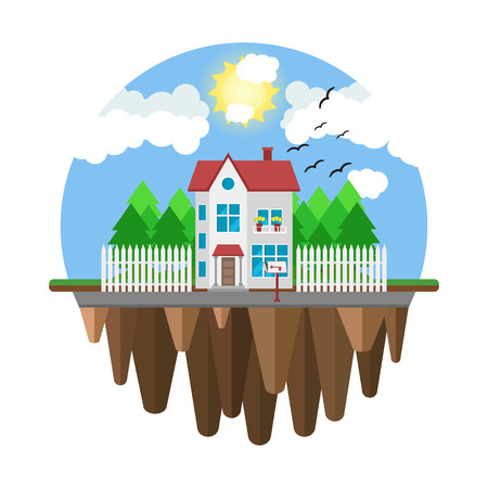 inexpensive: Floating house, flying home. Part of the rural and urban landscape. Vector illustration in flat style.