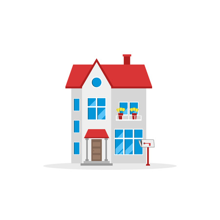 House vector illustration in flat style. Isolated on white background