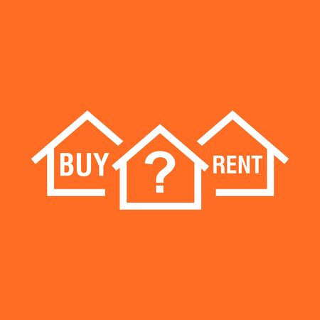 Buy or rent house. White home symbol with the question. Vector illustration in flat style on colourful orange background. Illustration