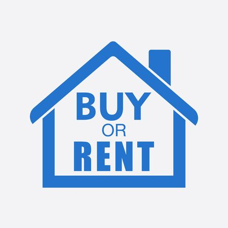 renter: Buy or rent house. Blue home symbol with the question. Vector illustration in flat style on white background.