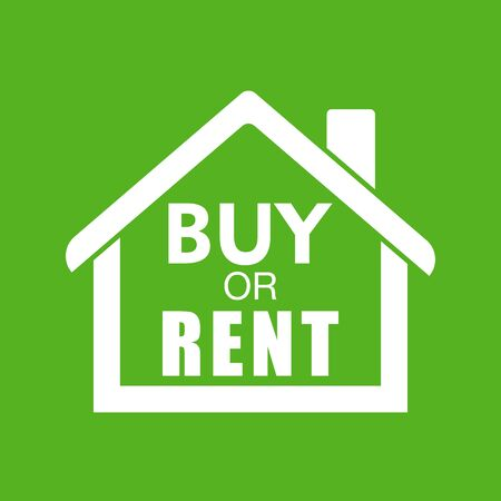 renting: Buy or rent house. White home symbol with the question. Vector illustration in flat style on colourful green background.