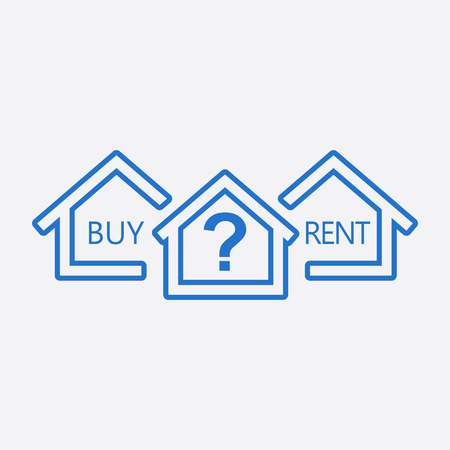 renter: Concept of choice between buying and renting house in line style. Blue home icon with the question. Vector illustration in flat style on white background.