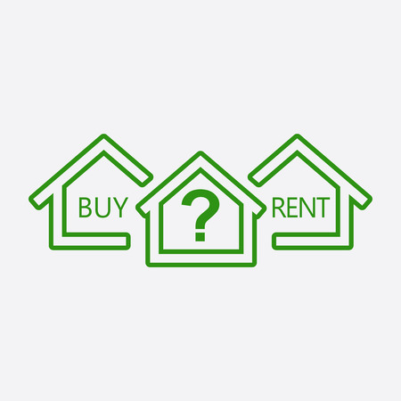 renter: Concept of choice between buying and renting house in line style. Green home icon with the question. Vector illustration in flat style on white background. Illustration