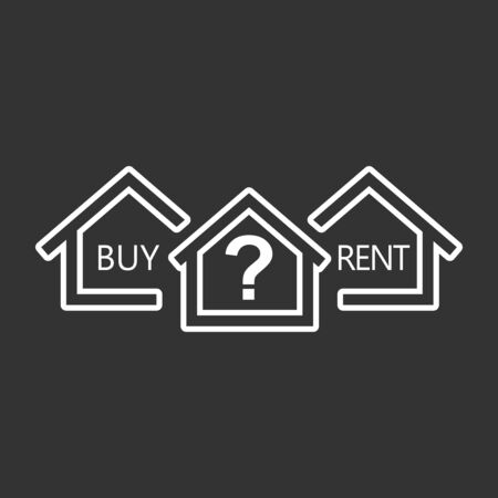 Renting: Concept of choice between buying and renting house in line style. White home icon with the question. Vector illustration in flat style on black background.