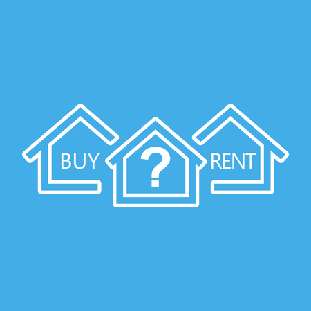 Renting: Concept of choice between buying and renting house in line style. White home icon with the question. Vector illustration in flat style on blue background.
