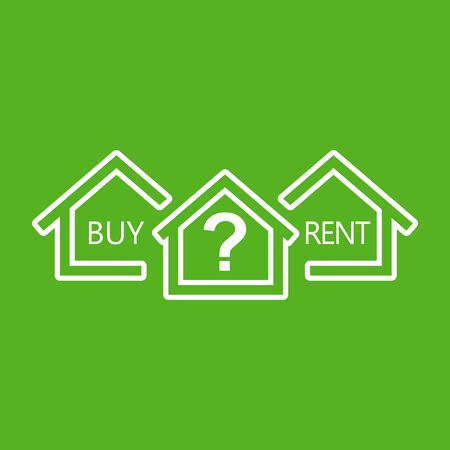 Renting: Concept of choice between buying and renting house in line style. White home icon with the question. Vector illustration in flat style on green background.