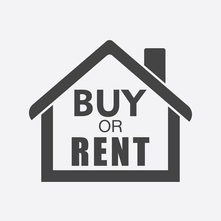 renter: Buy or rent house. Black home symbol with the question. Vector illustration in flat style on white background. Illustration