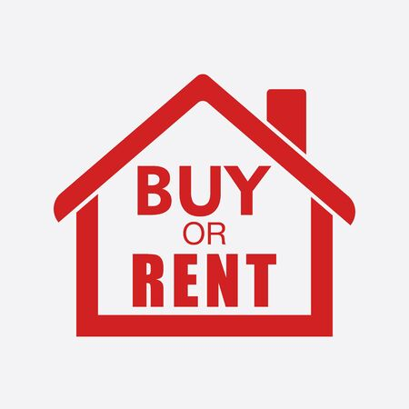 renting: Buy or rent house. Red home symbol with the question. Vector illustration in flat style on white background.