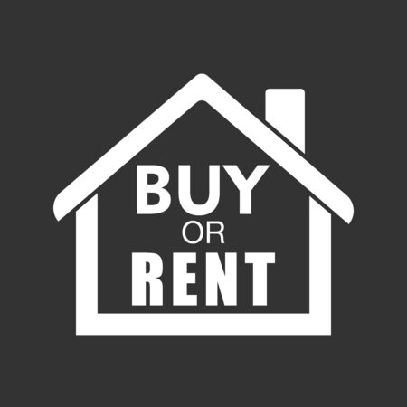 renter: Buy or rent house. White home symbol with the question. Vector illustration in flat style on black background. Illustration