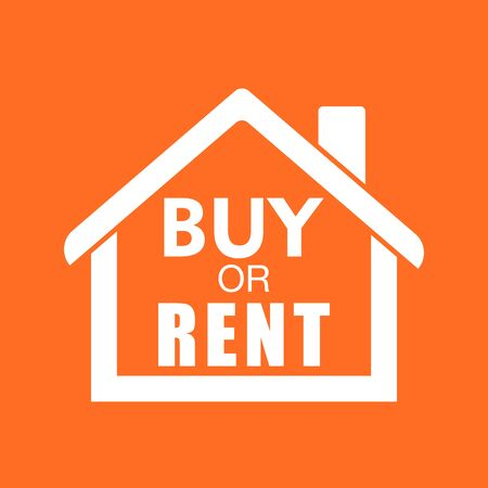 renter: Buy or rent house. White home symbol with the question. Vector illustration in flat style on colourful orange background. Illustration