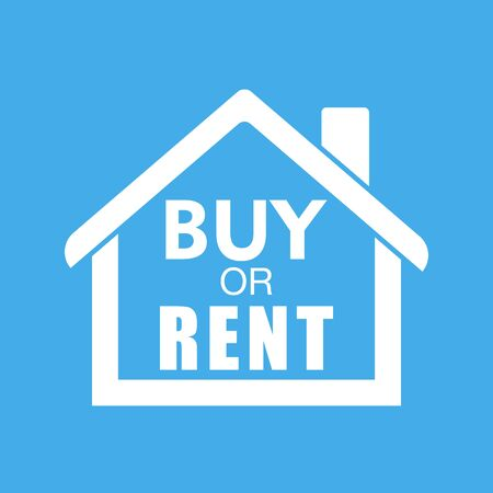 renter: Buy or rent house. White home symbol with the question. Vector illustration in flat style on colourful blue background.