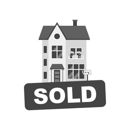 for rental: Sold sign with house. Home for rental. Vector illustration in flat style.