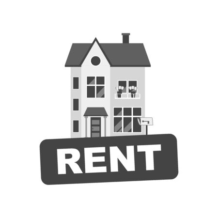 for rental: Rent sign with house. Home for rental. Vector illustration in flat style. Illustration