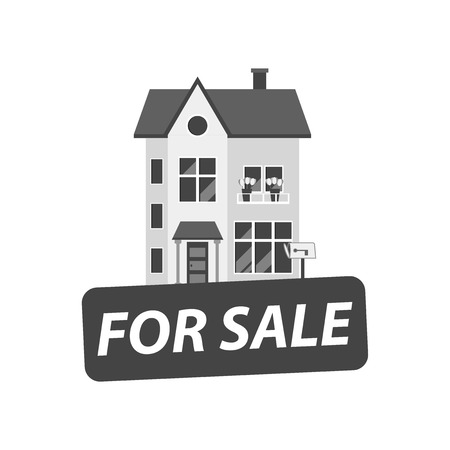 For sale sign with house. Home for rental. Vector illustration in flat style.