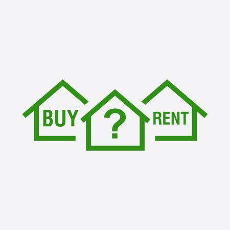 renter: Buy or rent house. Green home symbol with the question. Vector illustration in flat style on white background.