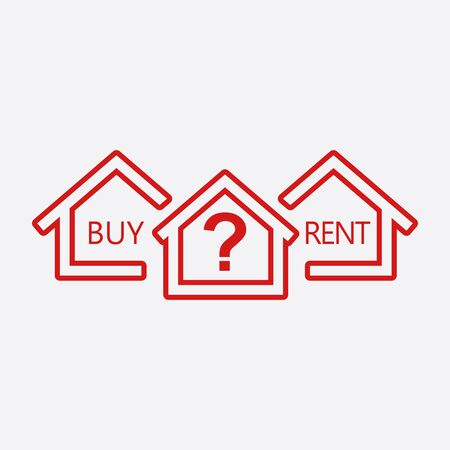 renter: Concept of choice between buying and renting house in line style. Red home icon with the question. Vector illustration in flat style on white background.