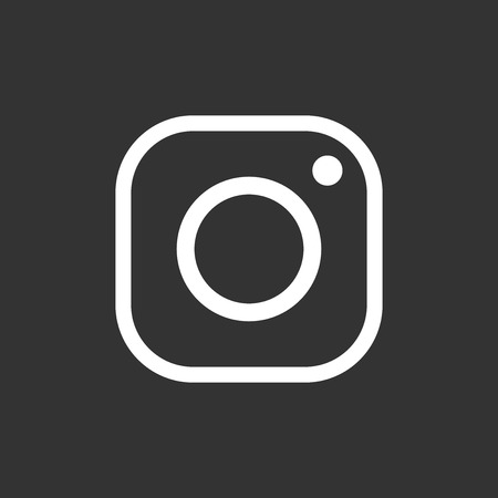 Instagram icon. Hipster camera. Social media vector flat illustration. White icons on black background.
