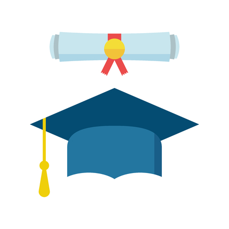 Graduation cap and diploma scroll icon vector illustration in flat style. Finish education symbol. Celebration element. Colorful graduation cap with diploma on white background.