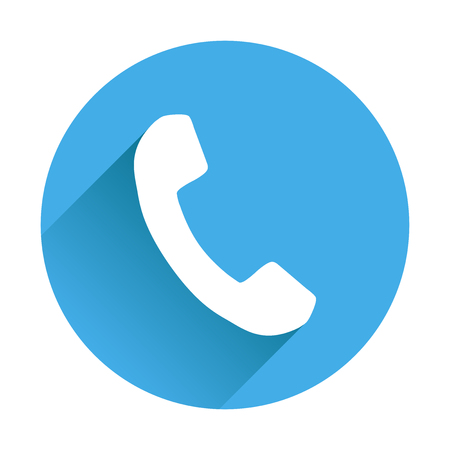Phone icon in flat style. Vector illustration on round blue background with shadow. Illustration