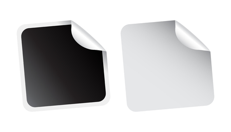 corner tab: Set of blank stickers. Empty promotional labels. Vector illustration. Black and white square tags.