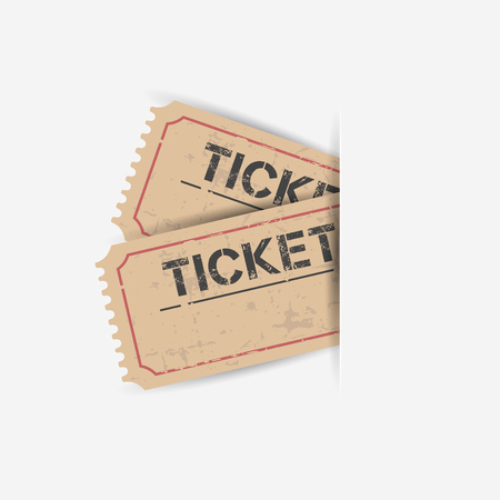 Old ticket with grunge effect. Flat vector illustration on white background. Stock Vector - 61235162