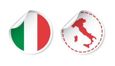 Italy sticker with flag and map. Label, round tag with country. Vector illustration on white background.