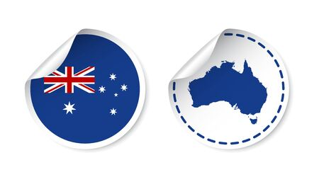 australasia: Australia sticker with flag and map. Label, round tag with country. Vector illustration on white background.
