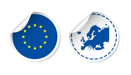 Europe Sticker With Flag And Map European Union Label Round