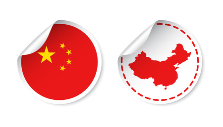 detachable: China sticker with flag and map. Label, round tag with country. Vector illustration on white background. Illustration