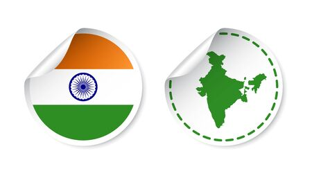India sticker with flag and map. Label, round tag with country. Vector illustration on white background.