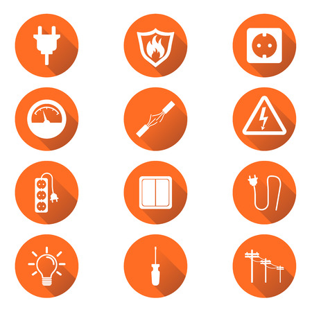 grounding: Electricity icon. Vector illustration in flat style on orange circle background with shadow.