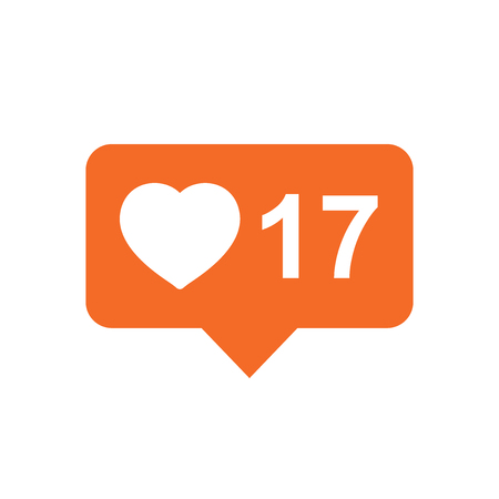 Like, comment, follower icon. Orange flat vector illustration with heart on white background. Çizim