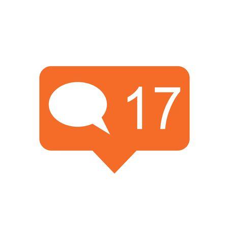 follower: Like, comment, follower icon. Orange flat vector illustration with heart on white background. Illustration