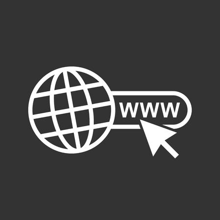 Web アイコンに移動します。黒の背景のウェブサイトのためのインターネット フラット ベクトル図。