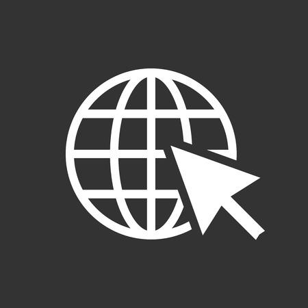 Go to web icon. Internet flat vector illustration for website on black background.